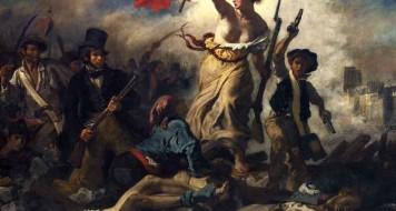 """Obra """"A Liberdade Guiando o Povo"""": imagem do pintor Delacroix. sobre a Revolução Francesa."""