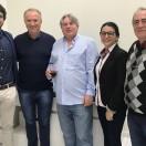 Dr. George, prefeito Zenio Cardoso, vice-prefeita Gislane e os pais dos proprietários, Barão e Sadi.